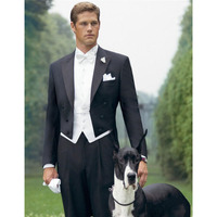 Black Peaked Lapel Swallow Tailed Coat Fashion Men Suits Custume Homme Personal Terno Masculino High Quality Fashion Slim3Pieces