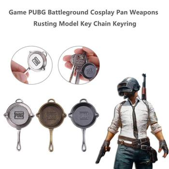 Game PUBG Weapons Rusting Keychain Battleground Cosplay Pan Model Keyring Sniper Rifle Model Unknown Player's Key Buckle Jewelry image