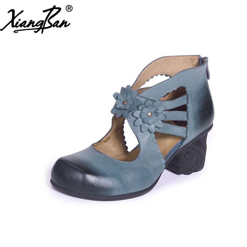 2017 handmade hollow female sandals shoes high heeled chunky heels women pumps genuine leather blue 2017 genuine leather women pumps cut out lace up chunky heels handmade vintage women shoes