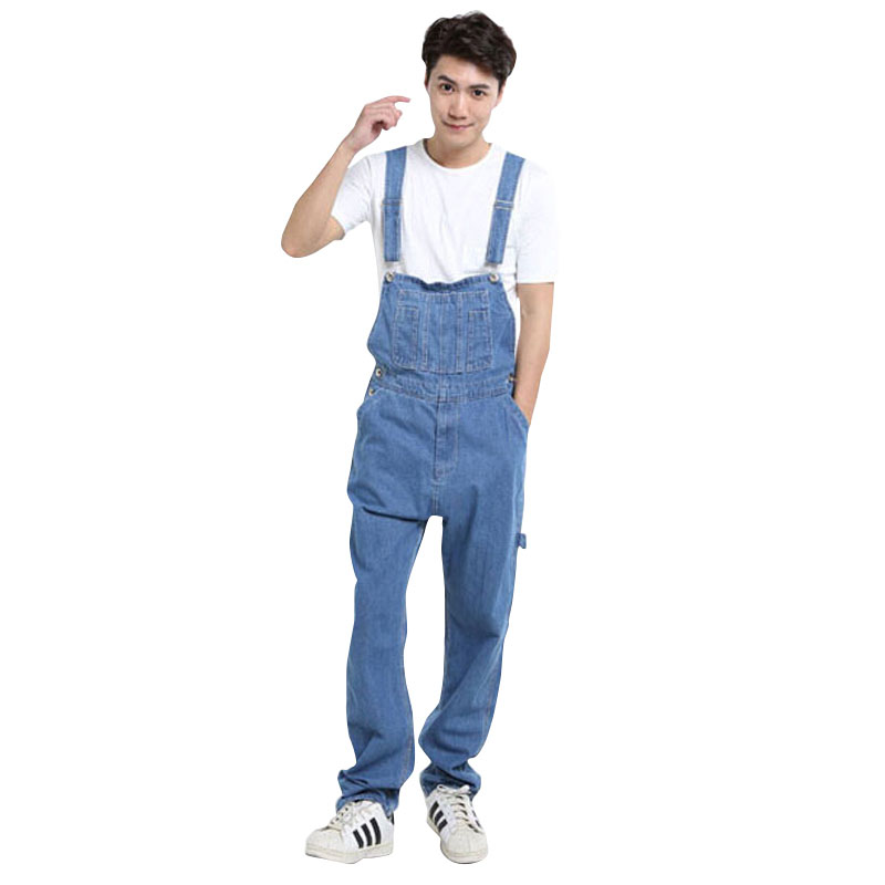 2017 New Arrival Mens Jeans Loose Bib Overalls Cotton Plus Size 26-42 Fashion Denim Jumpsuit Men Wholesale & Retail new fashion reminisced men vintage trousers casual jeans festa junina loose plus size overalls zipper denim jumpsuit men pants