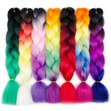 Aigemei Ombre Синтетичні канекалоні Плетені волосся для в'язання гачком Накладні підкладки для волосся Африканський омбр Jumbo Braids