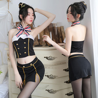 Sexy Stewardess Lingerie air hostess Costume Dress For Women Cosplay Sexy Erotic Lingerie Porn Costumes Uniforms Suit