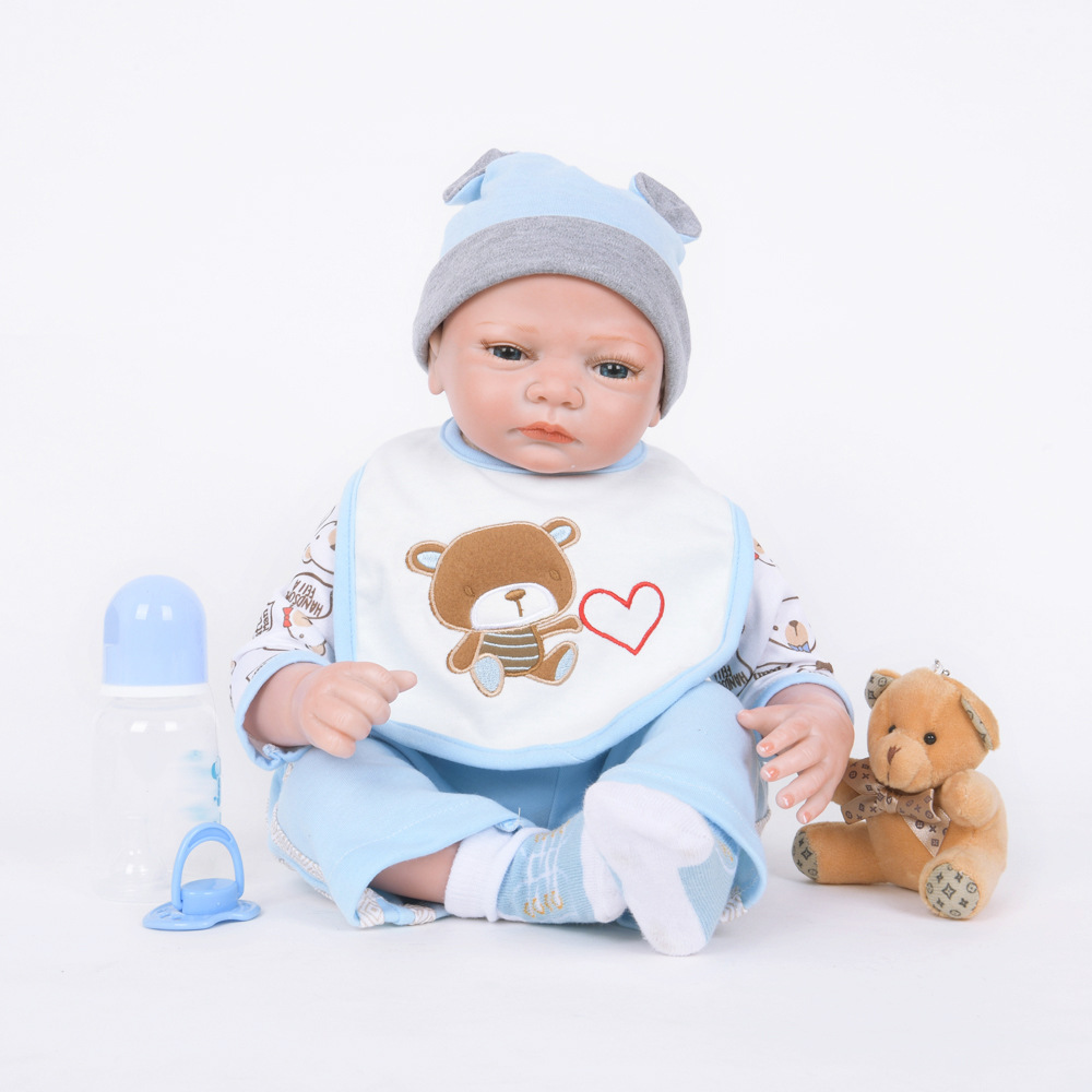 22 inches Soft Lovely Silicone Reborn Doll Cute Princess Newborn Baby with Cloth Body Toy for Kids Birthday Xmas Gift 22 inches realistic reborn girl doll soft silicone lovely princess newborn baby with cloth body toy for kids birthday xmas gift