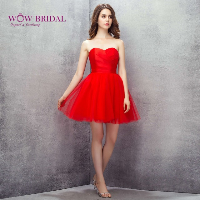 64ed91874 Wowbridal Rojo Corto Tul Vestidos de Fiesta 2016 Nuevo de Secundaria de  octavo Grado Vestidos de