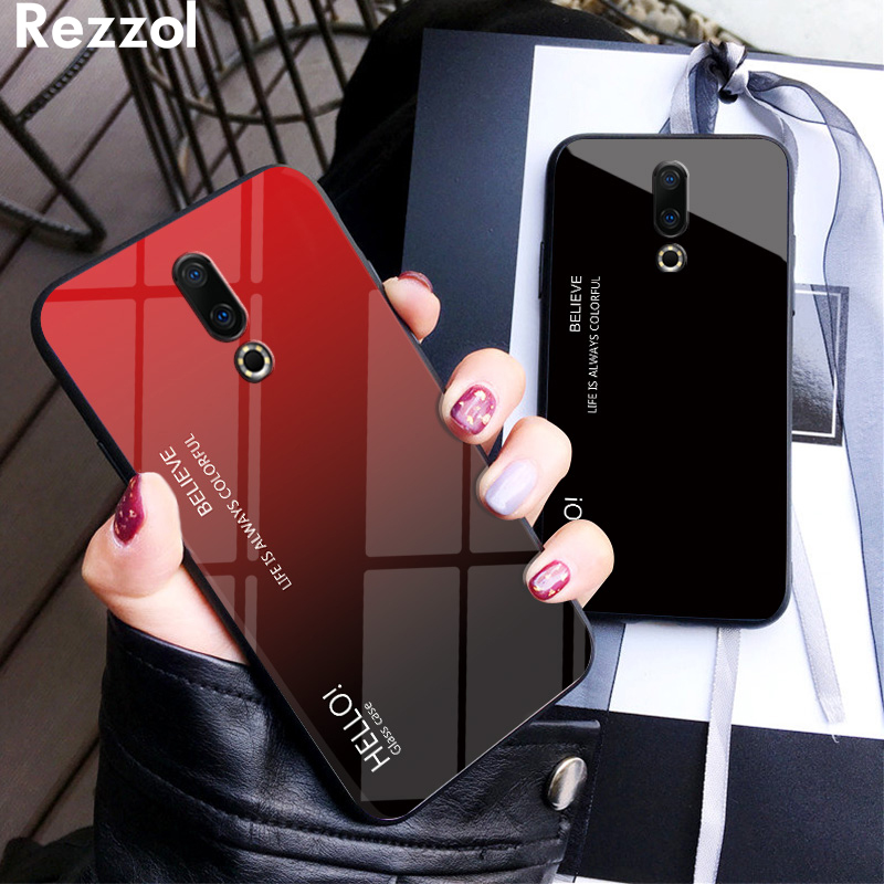 For Meizu 16th Case Luxury Gradient Tempered Glass Soft Silicone Bumper Case Cover For Meizu 16th 16S 16XS Fundas Coque in Fitted Cases from Cellphones Telecommunications
