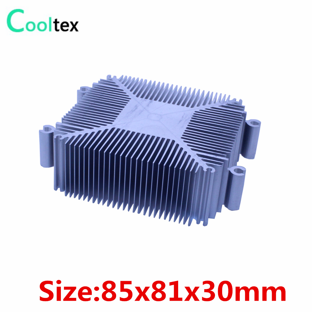 100% new 85x81x30mm DIY Led Heatsink Pure Aluminium Heat Sink Radiator For Led Light Cooler Cooling Recommended ! 1u server computer copper radiator cooler cooling heatsink for intel lga 2011 active cooling