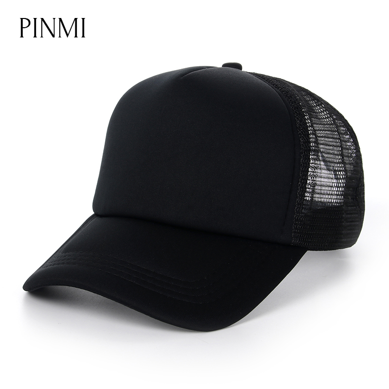 PINMI 2017 Summer Mesh Baseball Cap Men Women Breathable Light Solid Color Snapback Net Caps Casual Hats for Men Bone Wholesale fashion solid color baseball cap for men and women