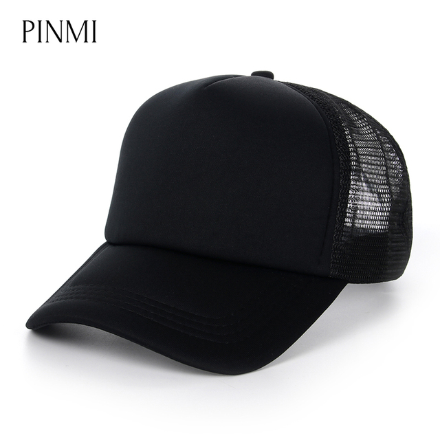 PINMI 2018 Summer Mesh Baseball Cap Men Women Breathable Light Solid Color  Snapback Net Caps Casual Hats for Men Bone Wholesale 6cf03922562