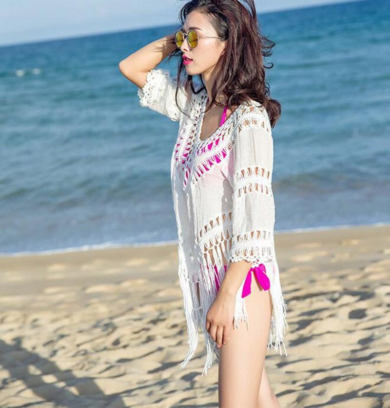 Women Sexy Cover-Ups Cotton Hollow Swimsuit Crochet Swimwear Tassel Bearding Tunic Pareo Swimsuits Beach Wear Bikinis Cover Up 3