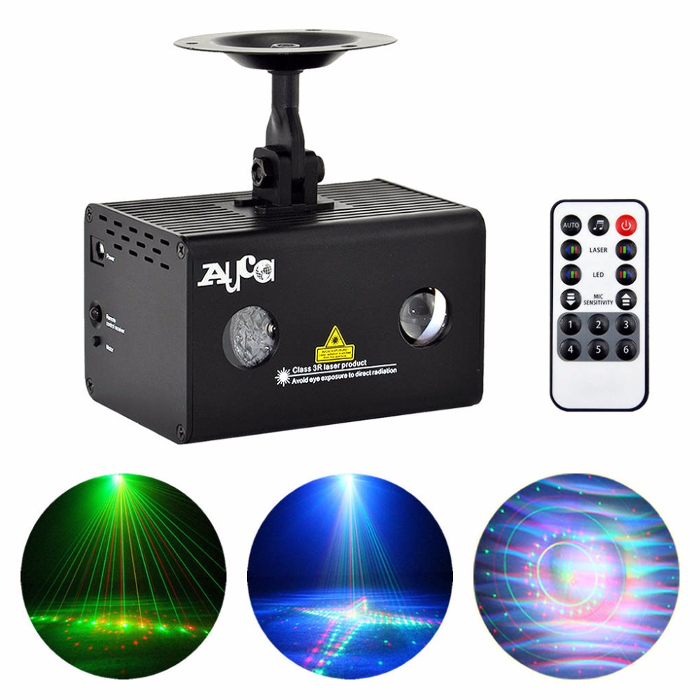 AUCD Remote 20 Patterns RG Laser Xmas Water Galaxy RGB LED Stage Light Projector AUTO Sound Party DJ Show Home Lighting LL-20RG rg mini 3 lens 24 patterns led laser projector stage lighting effect 3w blue for dj disco party club laser