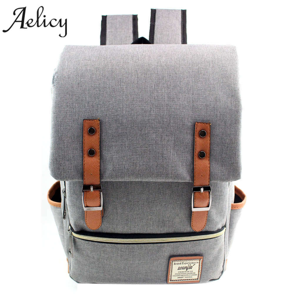 Aelicy High Quality Canvas Backpacks For Teenage Girls School Bags Large Capacity Computer Backpack for Laptop Student Bag цена 2017