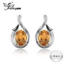 Jewelrypalace oval citrino 2.3ct genuino amarillo pendientes de plata de ley 925 2016 nueva moda de joyería fina para las mujeres