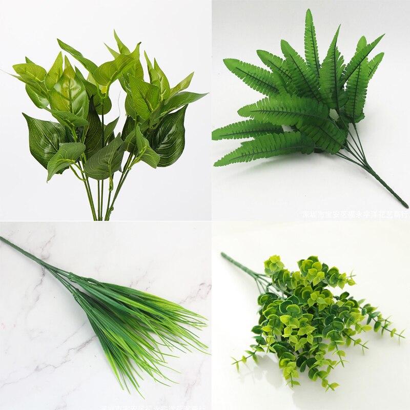 Artificial Plant Flower Leaf Foliage Simulation Plant Leaf Home Office Garden Decor Artificial Green Leave Plant Decoration