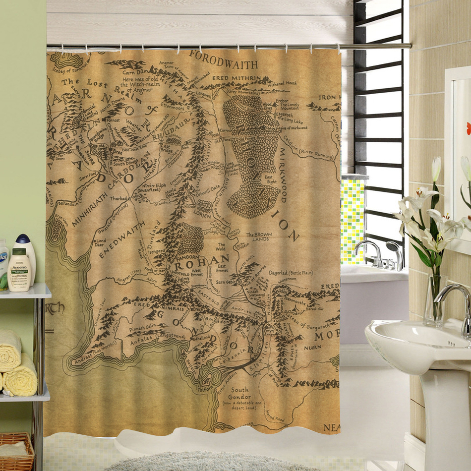Modern Bathroom Shower Curtains With Hooks World Map Bath Curtain Bathroom  Decor Waterproof Polyester Fabric Liner 150x180cm In Shower Curtains From  Home ...