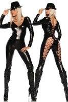 Siyah Deri Lingerie Seksi Vücut Kadınlar PVC Erotik Leotard Kostümler Lateks Bodysuit Catsuit için Takımları 2015 kadın deri elbiseler