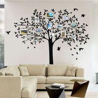 Família GRANDE Árvore PÁSSAROS Adesivos de Parede Art Vinyl Decalques Casa Room Decor Mural DIY Decoração do Quarto Papel De Parede 2 Tamanhos