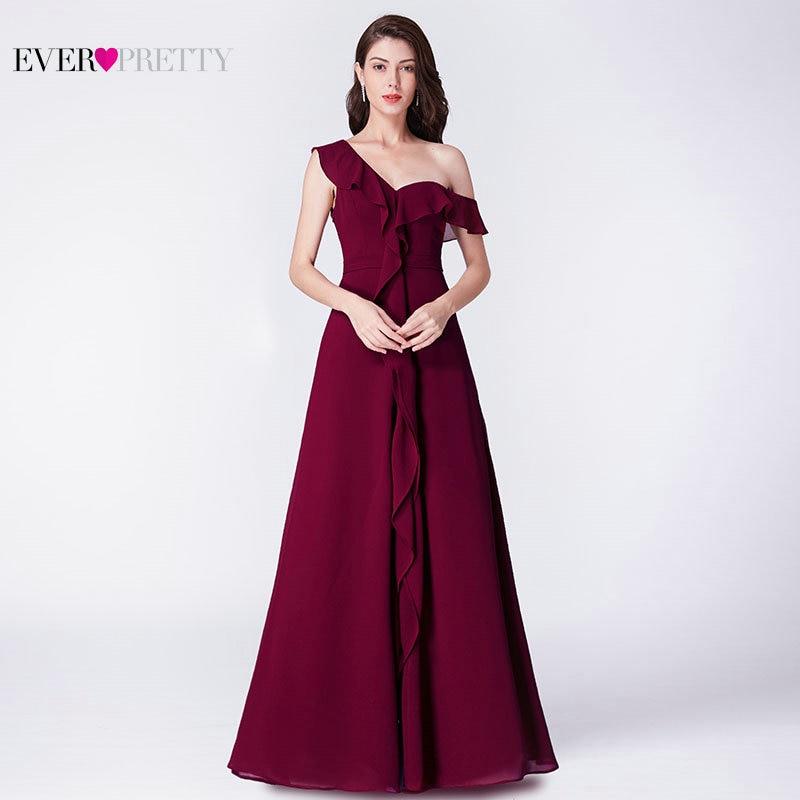4707b83e87e8 Burgundy Bridesmaid Dresses Ever Pretty EP07431BD Elegant A Line Off  Shoulder Chiffon Long Wedding Guest Gowns