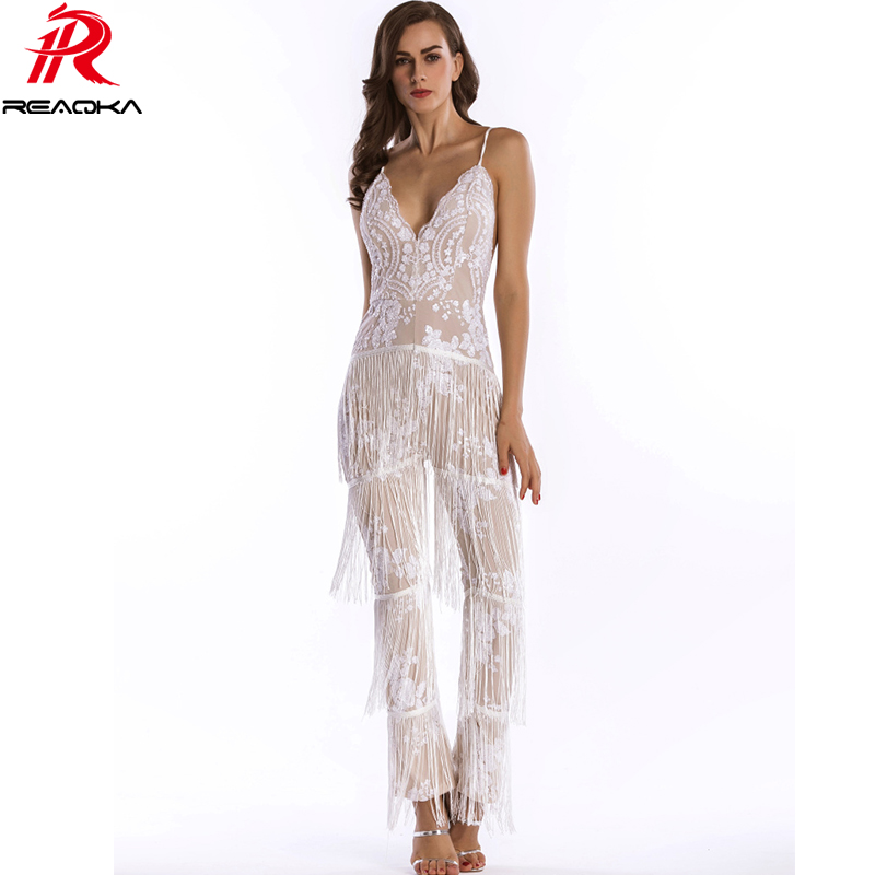 8c6d9254 Sexy Women Summer Gold white black pink Sequins rompers womens jumpsuit  fashion Backless Bandages Tassel bodysuit Overalls 2018-in Jumpsuits from  Women's ...