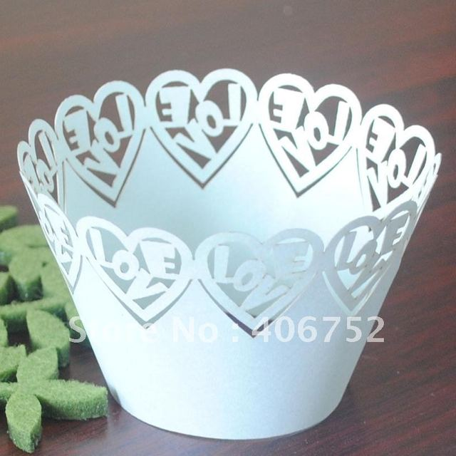 """weddding supply """"Love"""" hand made paper decoration light blue cupcake wrapper reasonable price individuation design"""
