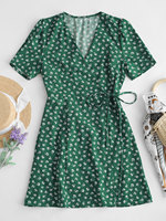 ZAFUL New Women Dresses Beach Female Short Sleeve Dress Floral Wrap Mini Dress Fashion A Line Summer Party Mini Dresses Vestidos