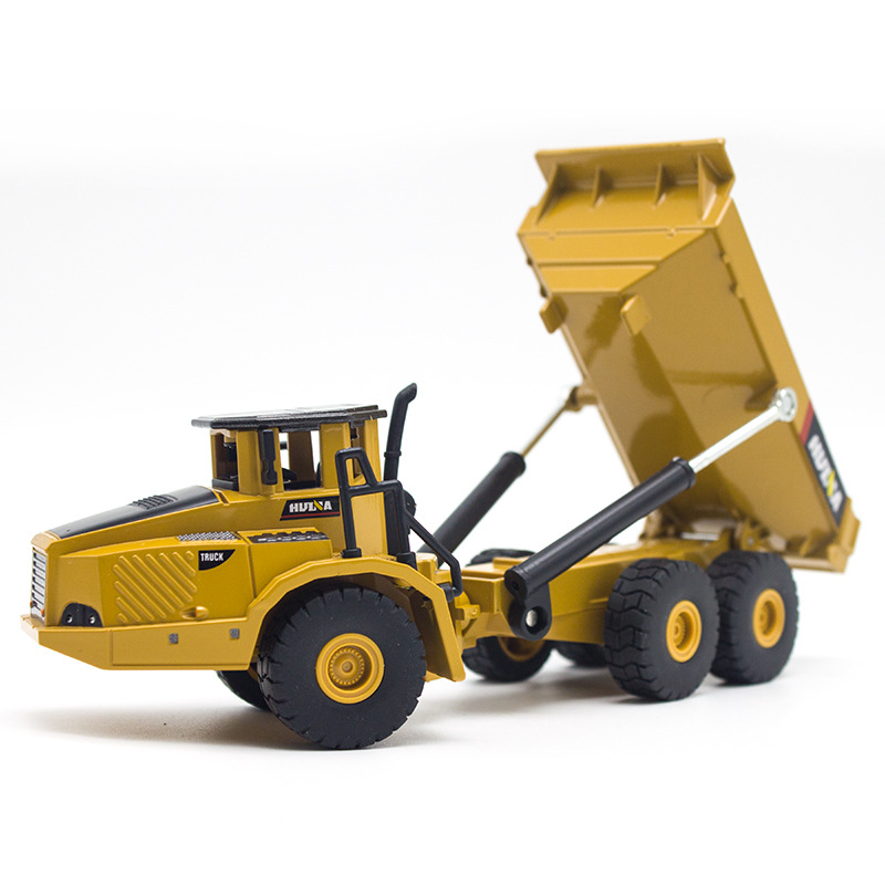 HUINA 7712 1:50 Scale Alloy Dumper Excavator Engineering Metal Diecast Truck Car Funny Toy For Boys Children Kid Birthday Gift