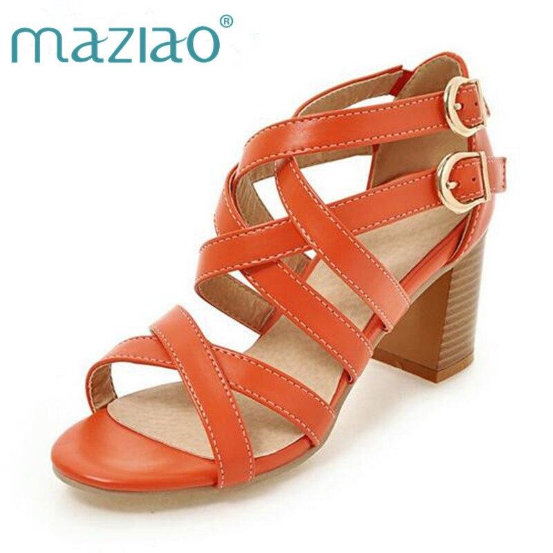 MAZIAO Women Shoes Sandals 2018 High Heels Cross Strap Gladiator Sandals Rome Open Toe Chunky Heel Shoes Orange Beige Size 34-43