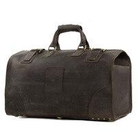ROCKCOW Винтаж Crazy Horse кожа для мужчин дорожные сумки большой чемодан и сумки duffle Большой tote 3151