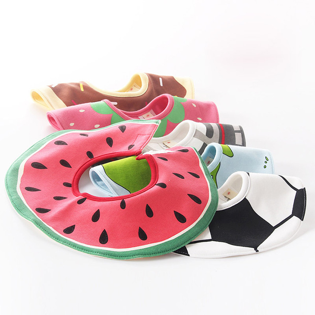 2018 Cute Fruits Bibs Fashion Baby Bibs Cotton Waterproof Mouth Towel Boy Girls Boys Stereo Bib