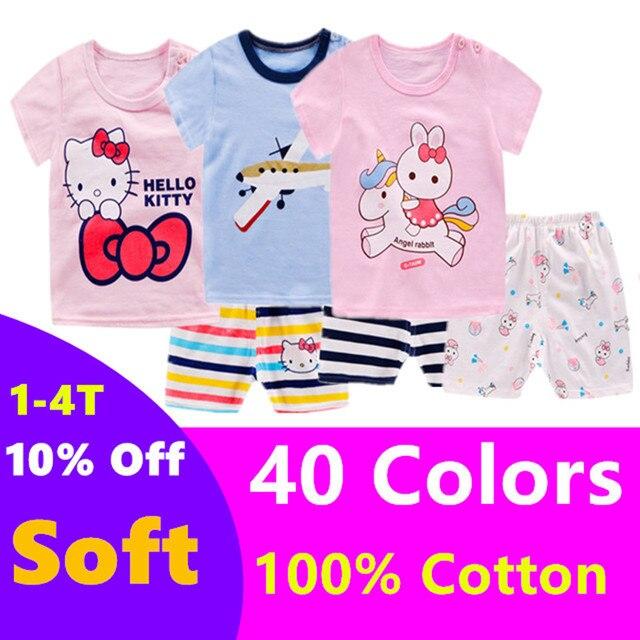 2019 New cotton Kids Boys Girls Clothes Baby Pajamas  Short Sleeved Clothing Set children Cartoon set Children's  home Sleepwear
