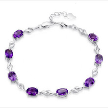 TJP Charm Purple Crystal Bracelets For Women Wedding Engagement Party  Accessories Fahion Girl 925 Silver Anklets Lady Bijou