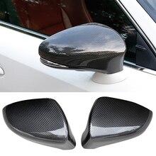 QHCP ريال الكربون مادة الألياف 2 قطعة/المجموعة مرآة الرؤية الخلفية غطاء حامي الأسود ل كزس IS300 200T 250 GS300 CT200 RC 2013 2019