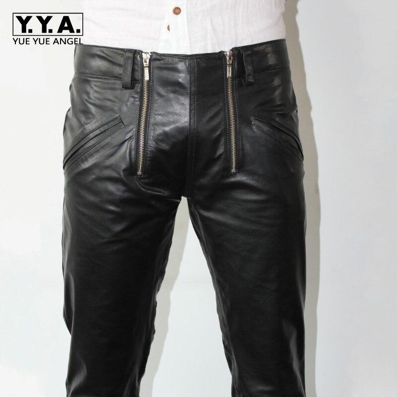 Brand Fashion Mens Sheepskin Genuine Leather Pencil Pants Plus Size Harajuku Double Zippers Designer Motorcycle Leather Pants