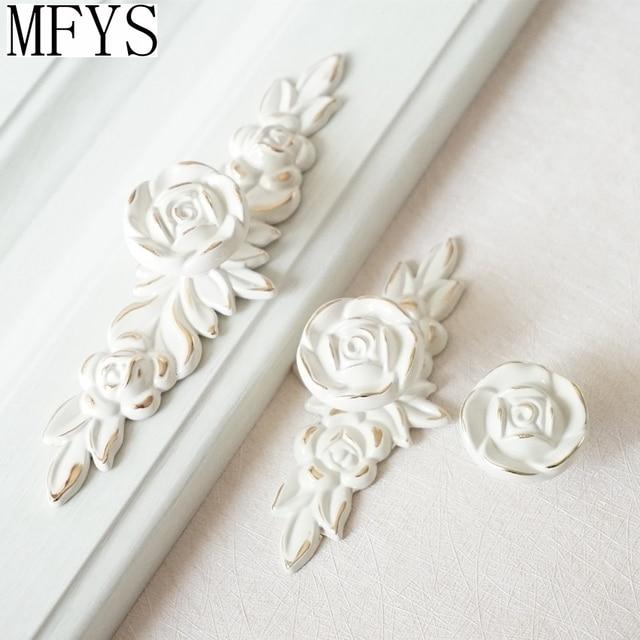Us 3 2 11 Off Shabby Chic Dresser Drawer Knobs Pulls Handles Creamy White Gold Rose Flower Kitchen Cabinet Knobs Ornate Knob Hardware In Cabinet