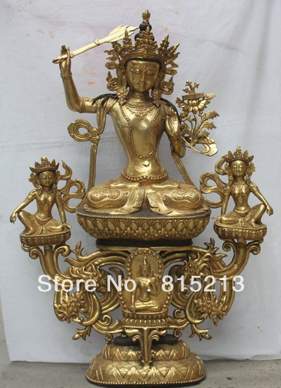 bi00485 42 Tibet Tibetan Buddhism Bronze Gilt Wenshu Manjushri Boddhisattva Statue Setbi00485 42 Tibet Tibetan Buddhism Bronze Gilt Wenshu Manjushri Boddhisattva Statue Set