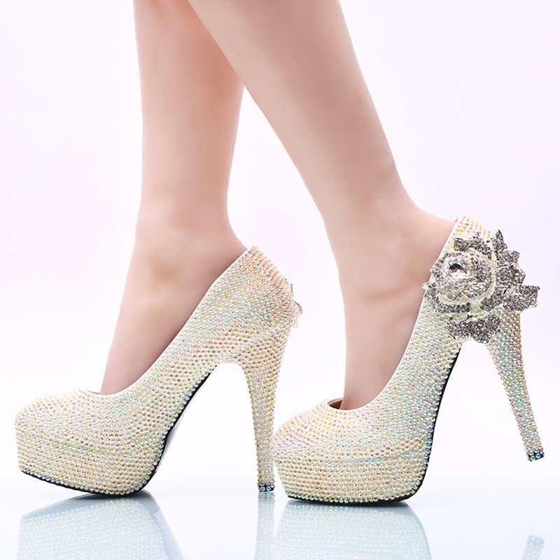 White AB Crystal Wedding Shoes Sparkling Rhinestone Bridal Dress Shoes Plus Size Platform High Heel Shoes Cinderella Prom Pumps купить