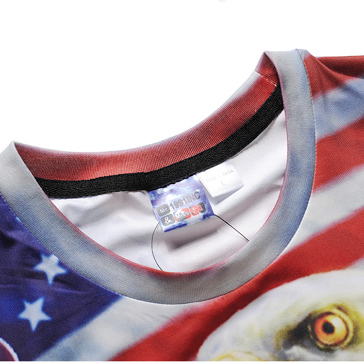 2018 Summer New T-shirts Men Women 3d Print Eagle Hold America Flag Short Sleeve Round Neck Fashion Tops Tees Large Size