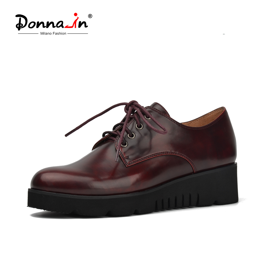 Donna-in Platform Heel Women Shoes Lace Up Derbies Fashion Red Wine Color Casual Ladies Shoes big size 41-42 for women red off shoulder lace up elastic waistband casual co ords