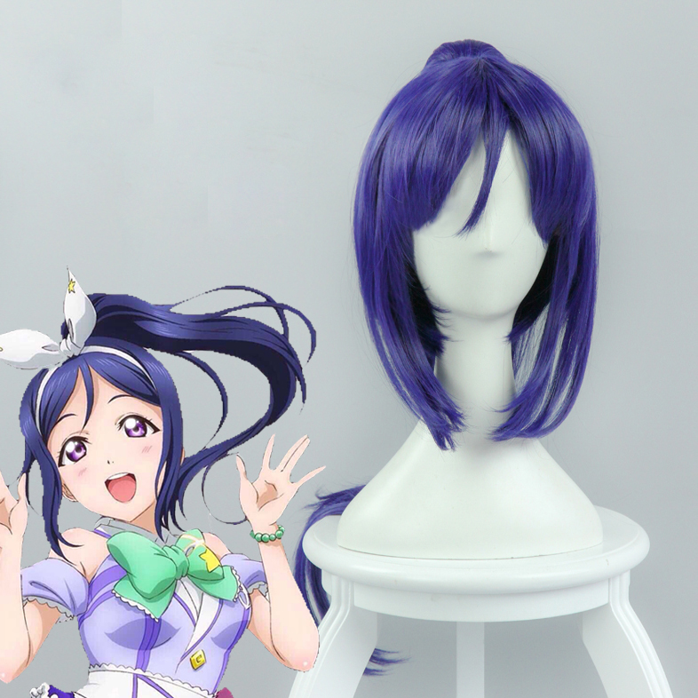 LoveLive!Sunshine!! Matsuura kanan Mixed Blue Long Ponytail  Cosplay Wig