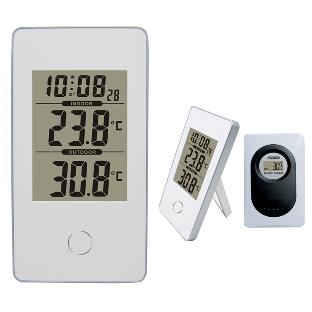 Hot Modern Simple Style White Wireless Weather Station Indoor Outdoor Digital Thermometer Snooze Alarm Clock 12 24 Hour Select