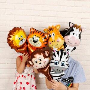 Image 5 - 6 sztuk balony foliowe z główką zwierzęcą safari, zoo ręczny nadmuchiwany balon powietrza Baby Shower dekoracje na przyjęcia urodzinowe prezenty dla dzieci