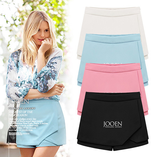 Anasunmoon 2017 summer new European and American Fashion False two Chiffon skirts flanging Cambric slim casual   Shorts   for womens