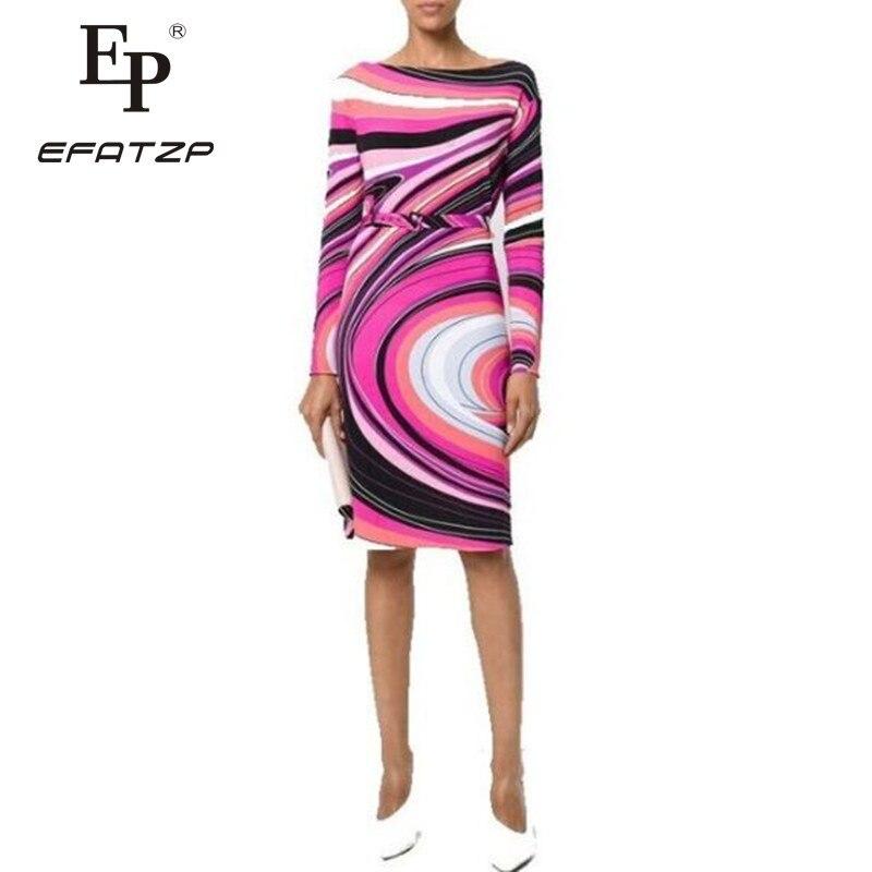 EFATZP najnowszy moda 2018 wiosna projektant sukienka damska z długim rękawem Slash neck geometryczny wzór Stretch koszulka z jedwabiu dzień sukienka w Suknie od Odzież damska na  Grupa 1