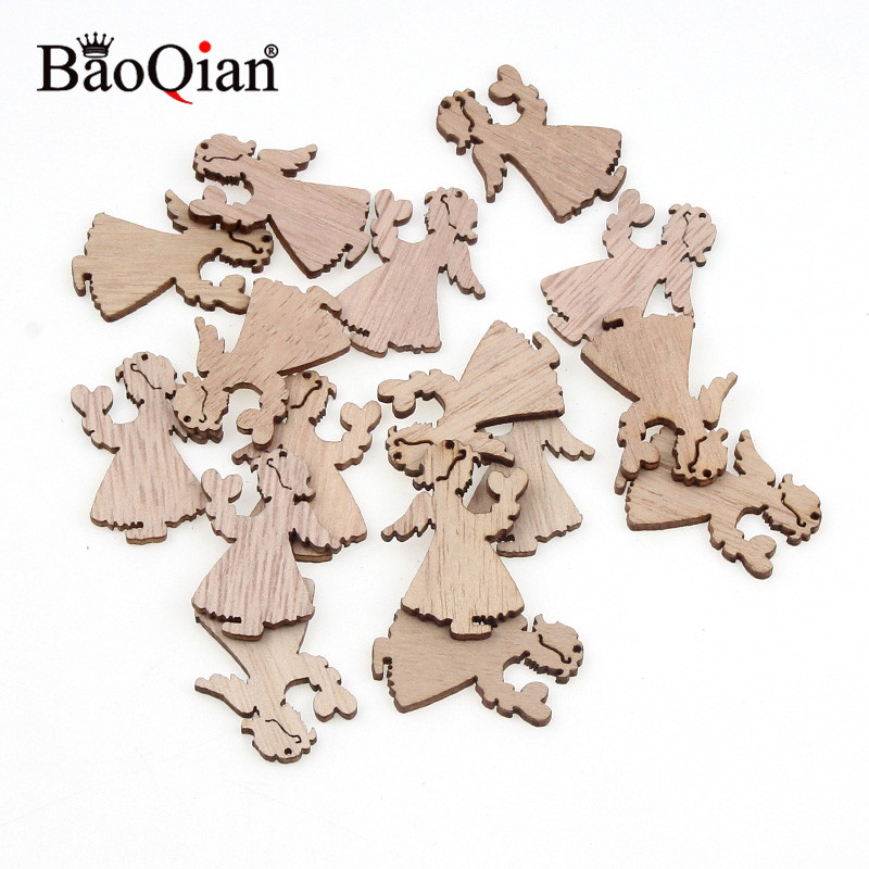 50Pcs Angel Girl Natural Wood Chips Ornaments Christmas Carve Pendant Decor With Hole Scrapbooking Embellishments DIY Crafts