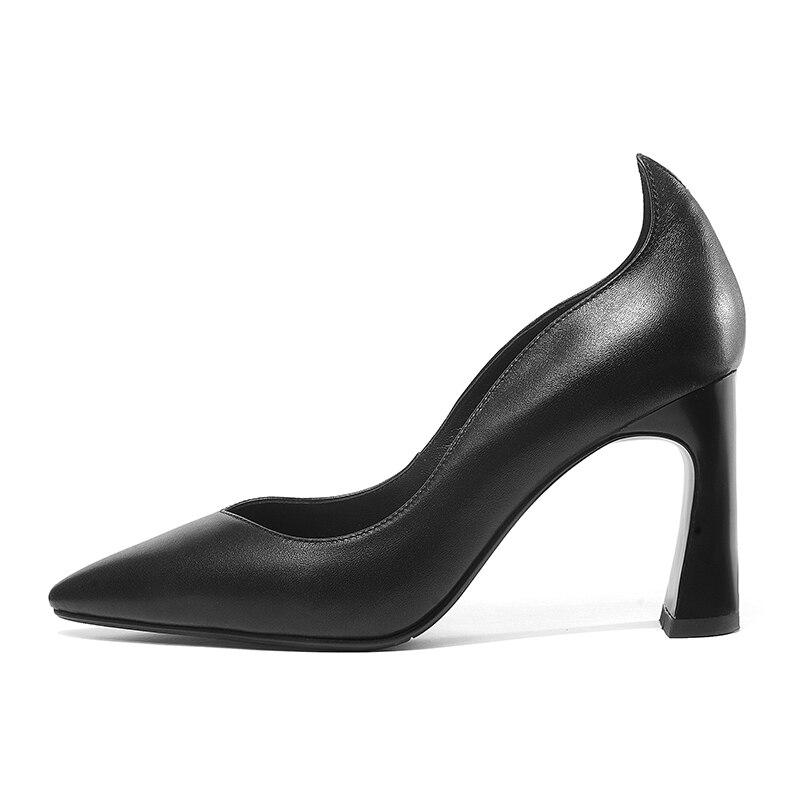 Negro Oficina Primavera Alto Calzado Cuero Zapatos Wetkiss 2019 Genuino Superficial Puntiagudo Mujeres Pie Dedo blanco Tacón Las Del De Nuevo Mujer qagHgwZF