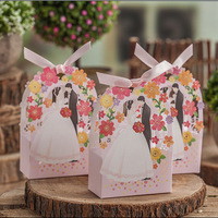 2017 New 50Pcs Romantic Bride and Groom With Flower Wedding Candy Box for Wedding Decoration Party Gift Free Shipping