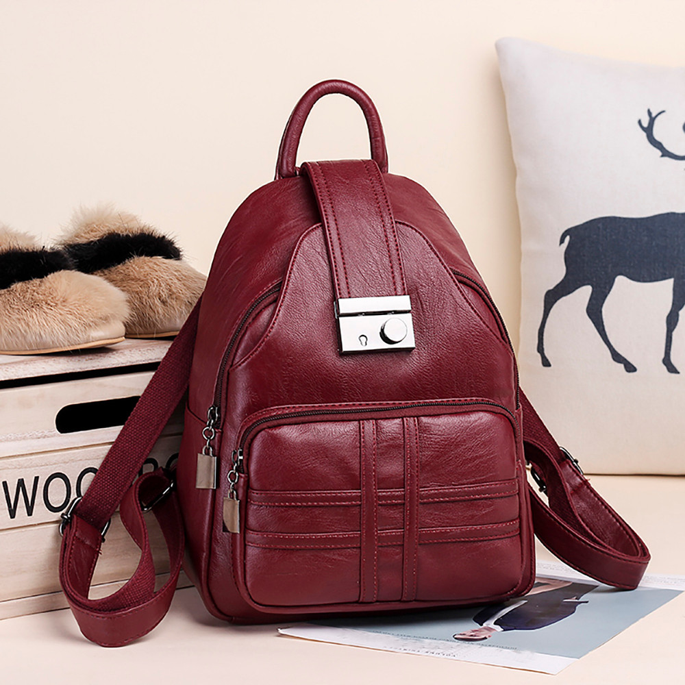 Womens Chest Bag Backpack Leather Wild Casual Mini Bag Anti-Theft PU Girls Wallet 19/×6.5/×25.5CM Multipurpose Daypacks