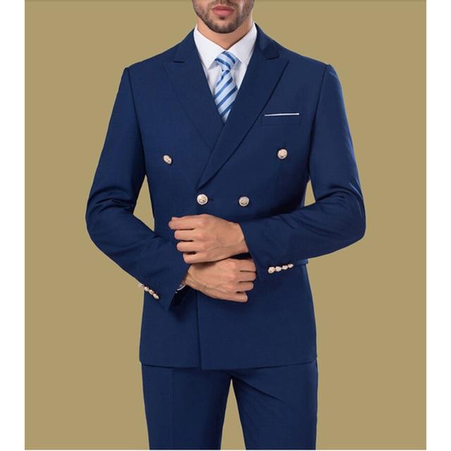 Custom Pantalon Breasted Same Slim Hommes Veste Pièces Made Marine 3 Mens Double Costumes Photo Partie As Qualité Bleu Fit Toilettage Haute 14qdC