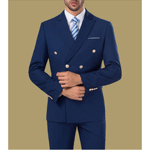 Double Breasted Mens Navy Blue Suits High Quality Custom Made Grooming Party 2 Pieces Slim Fit Jacket Pants