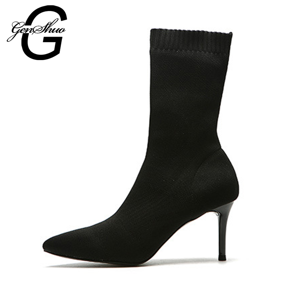 GENSHUO Fashion Mid Calf Boots For Women Autumn Women's Shoes Black Sexy Stiletto Ladies Shoes Stretch Sock Boots Women's Boots
