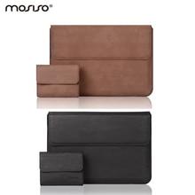 MosisoสีดำหนังPUนุ่มกรณีปกสำหรับMacbook Air Pro Retina 13 13.3นิ้วนิ้วโน๊ตบุ๊คกระเป๋าแขน